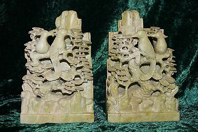 Highly Detailed Chinese Soapstone Statues With Birds