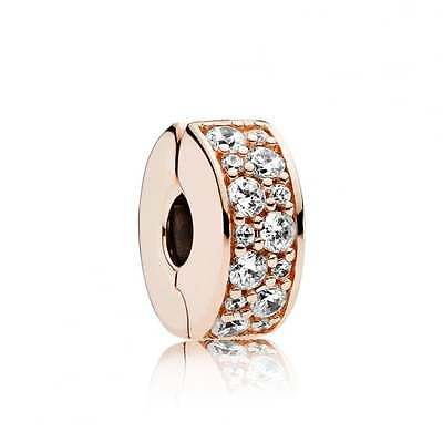 PANDORA Rose Gold Shining Elegance Clip Charm 781817CZ Genuine Authentic