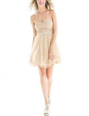 City Triangles Juniors Stylish Strapless Lace Goldsilver 7