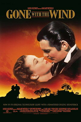 """009 Gone With The Wind - William Gable Classic USA Movie 14""""x21"""" Poster"""