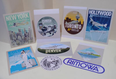 SET of 9 Rimowa Luggage Labels Retro Sticker Denver NY Toronto Vinyl Decal Pack