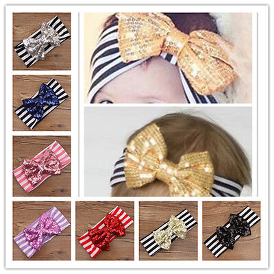7 PCS Kids Girls Toddler Baby Sequined Bow Elastic Headband HairBand Accessories