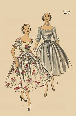 """Vintage 1950's Sewing Pattern Evening Dress Cocktail Wedding Scalloped Bust 34"""""""