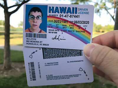 McLovin ID Movie Superbad Fake Joke - High Definition PRINTING - EXPIRE 2020