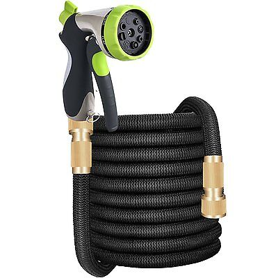 Deluxe 50/75/100 Feet Expandable Flexible Garden Water Hose Pipe w/ Spray Nozzle