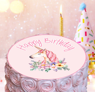 pink unicorn edible cake topper girl baby shower 1st 2nd 3rd 4th 5th birthday