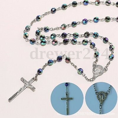 Multicolored Virgin Christian Cross Resin Catholic Beads Silver Necklace Rosary