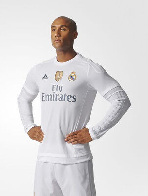 Real Madrid Adidas Maillot Shirt L/S 2015 16 Home Homme blanc