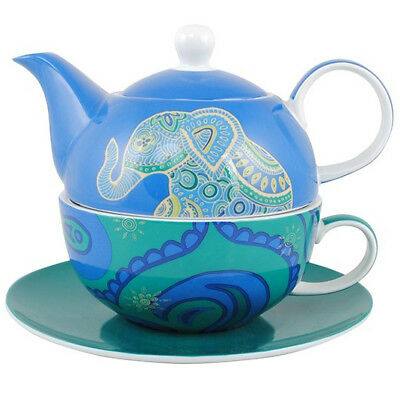 Elephant Tea For One Teapot Pot Cup Saucer Ceramic China Gift Box