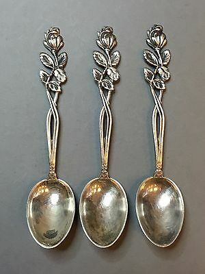 Lot Of 3 Vintage Antique Russian Sterling 875 Silver Spoons With Roses