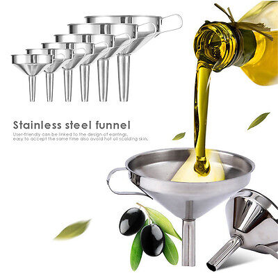 New Stainless Steel Wide Mouth Liquid Funnels Detachable Strainer Filter 10-24cm