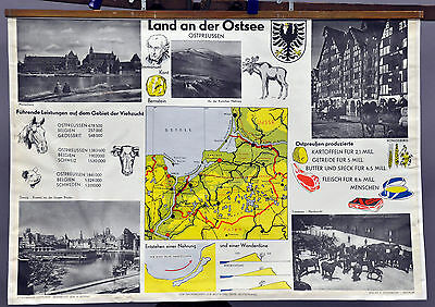 picture wall chart poster map East Prussia Baltic Sea Danzig Kaliningrad r0268