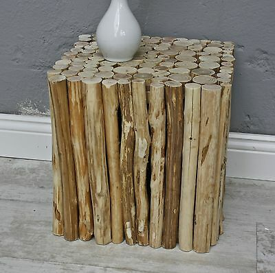 Sitting Stool Brown Cottage Table Side Wooden Urban Solid Wood