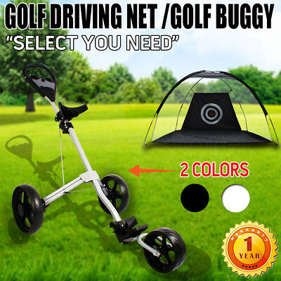 Golf Training Driving Net Tent Target OR 3-Wheel Swivel Golf Trolley Buggy Bag