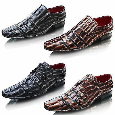 Mens Slip On Leather Pointed Toe Patent Shiny Wedding Dress Formal Shoes Size