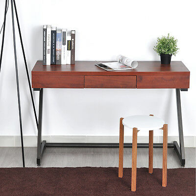 Retro Console Office Work Table Industrial Iron Z Shape Leg Brown Top w/ Drawer