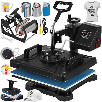 8 in 1 Transfer Sublimation T-Shirt Mug Hat Plate Cap Heat Press Machine New