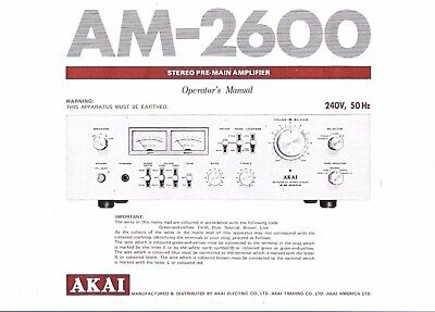Akai  Bedienungsanleitung user manual operator´s manual für AM- 2600