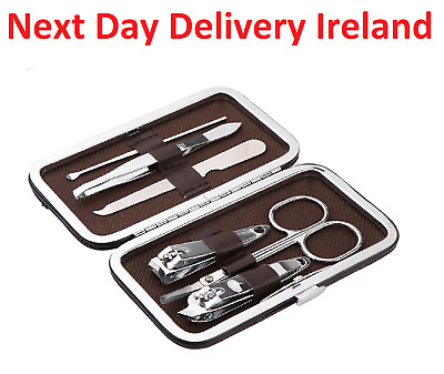 6 Pedicure Manicure Set Clippers Cleaner Nail Cuticle Grooming Kit Case Tool