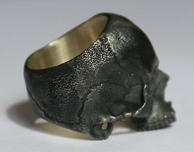 Sterling Silver Blackened Oxidised Skull Ring by FilamentSilverworks - size X