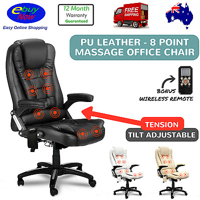 8 Point Massage Chair High Back PU Leather Office Executive Chair Rest Black New