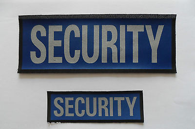 Reflective sew on SECURITY badge. Lycra Backing. Large and Small - SIA, Patrol.