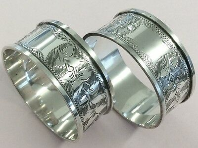 Antique Pair Of Sterling Silver Napkin Rings 1897