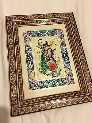 Exquisite Iranian Persian Khatam Inlaid Marquetry Hand-Painted Miniature frame