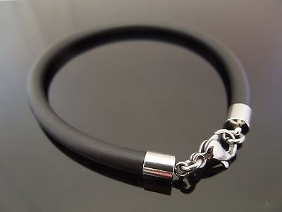 5mm Black Rubber Wristband Bracelet With Stainless Steel Lobster Clasp