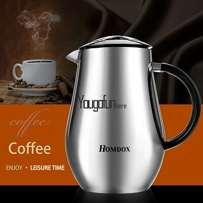 8-Cup Coffee Maker French Press Stainless Steel Double Wall Cafetiere Cafe Tea