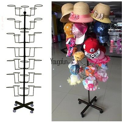 "7-Tier Hat Display Retail Rack 64"" Tall Rotating Adjustable Stand Floor Quality"