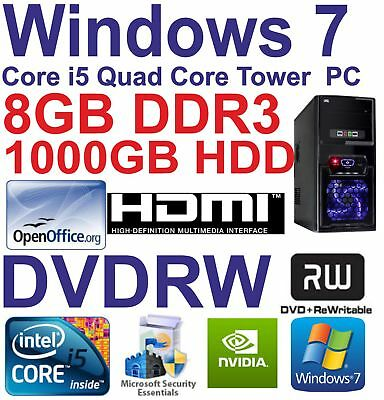 .Windows 7 Core i5 Quad Core HDMI Gaming Tower PC  8GB DDR3 - 1000GB HDD DVDRW