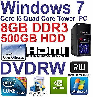 .Windows 7 Core i5 Quad Core HDMI Gaming Tower PC  8GB DDR3 - 500GB HDD DVDRW