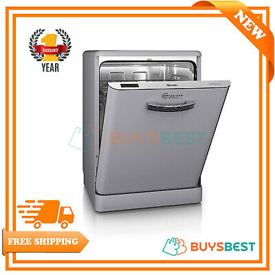 SDW7040GRN Swan Retro A+ Dishwasher Full Size 60cm 12 place Grey New From AO