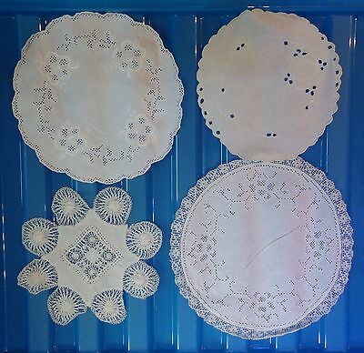 VINTAGE floral lace tray small cloth crochet set of 4 assorted (VC144)