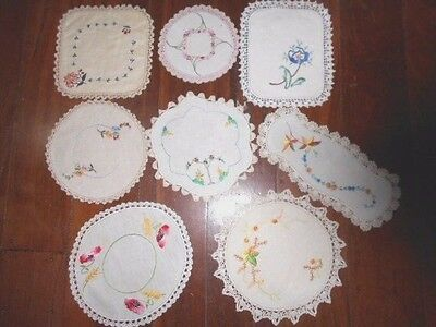 8 vintage hand embroidered DOILIES white &ecru crocheted edge doily bulk lot old