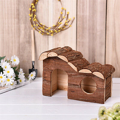 Wooden Hamster Mouse House Rat Guinea Pig  Play Villa Cage Playground Nest Toy