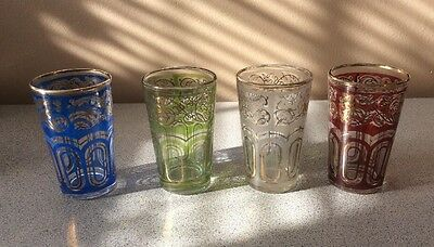 Tea Glasses FATH 4 Moroccan Gold Ethnic Design By Fath 1960s