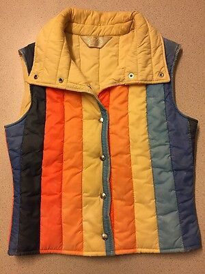 Vtg 70s 80s Roffe Puffy Ski Vest Small  Navy Blue Rainbow Stripes Made In USA
