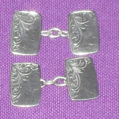 VINTAGE RETRO 1950/60s STYLISH SOLID STERLING SILVER ENGRAVED DRESS CUFFLINKS
