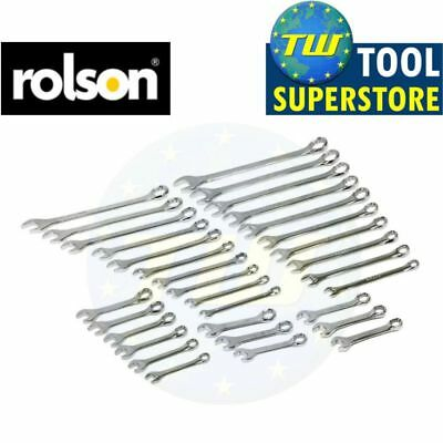 Rolson 32pc Combination Spanner Set Stubby Ring SAE / Metric Polished CR-V