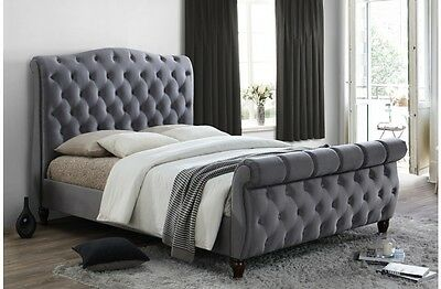 Birlea Colorado Upholstered Classic Grey Fabric Sleigh Bed Frame King Super