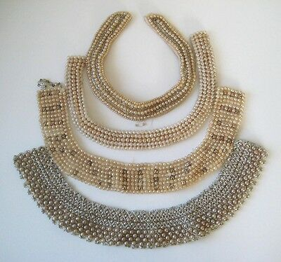 1950's VINTAGE Beaded Faux PEARL COLLAR Sweater Lot of 4