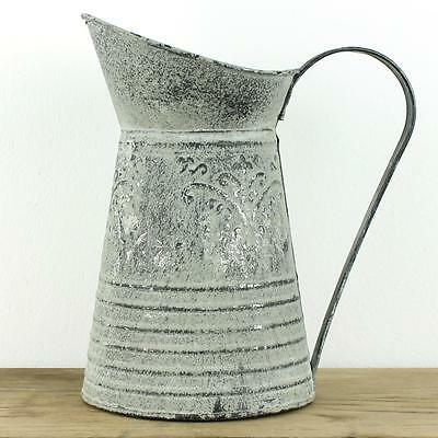 Boutique Vintage Watering Can Shabby Chic Grey Jug Ornate Metal Pitcher Wedding