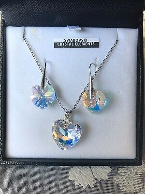 Swarovski Crystal Elements Love Heart Necklace And Earring Set