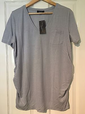 New Look Maternity Grey V-Neck T-Shirt Size 14 New With Tags