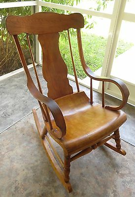 Antique Am.Country stripped pine splat & spindle back rocking chair, rocker