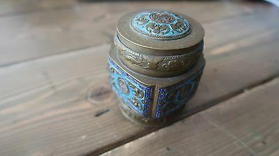 Antique Ornate Brass Blue Enamel Chinese Tea Caddy Jar