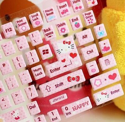 Hello KITTY Kawaii DIY Sticker, Computer & Laptop Keyboard Sticker Paster sanrio