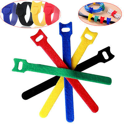100pcs Cable Ties Mixed Color Cable Tie Wraps / Zip Ties Strap Hook and Loop